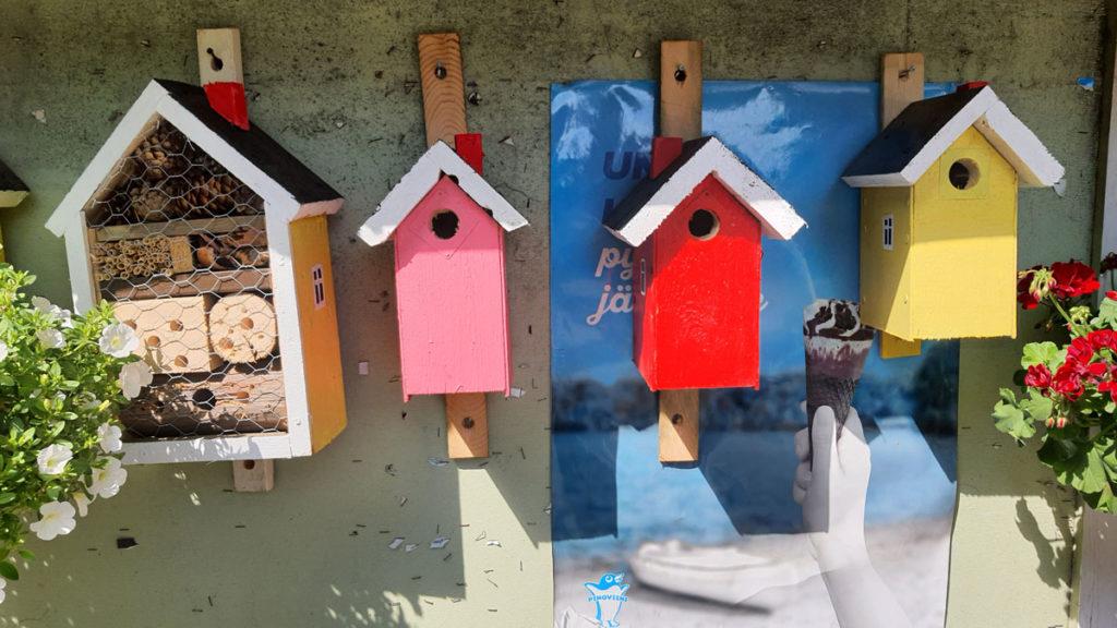 Värikkäitä linnunpönttöjä likkojen kaupalla Radansuussa Iitissä